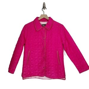 Coach Pink Sig Quilted Snap Front Jacket Coat